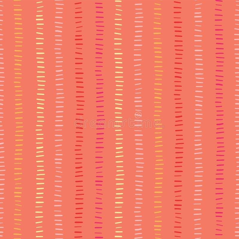 橙色无缝的传染媒介背景手拉的垂直线 手拉的乱画冲程 绿色颜色构造了backgound 摘要 皇族释放例证