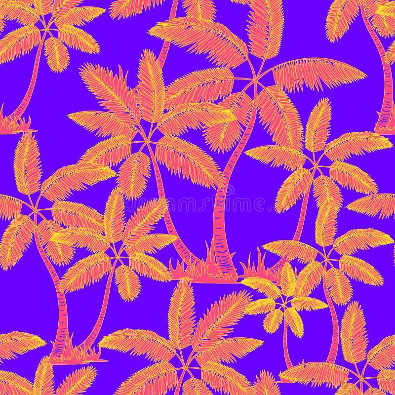 橙色无缝的热带棕榈样式 棕榈树夏天不尽的手拉的传染媒介紫罗兰色背景可以为墙纸使用 库存例证