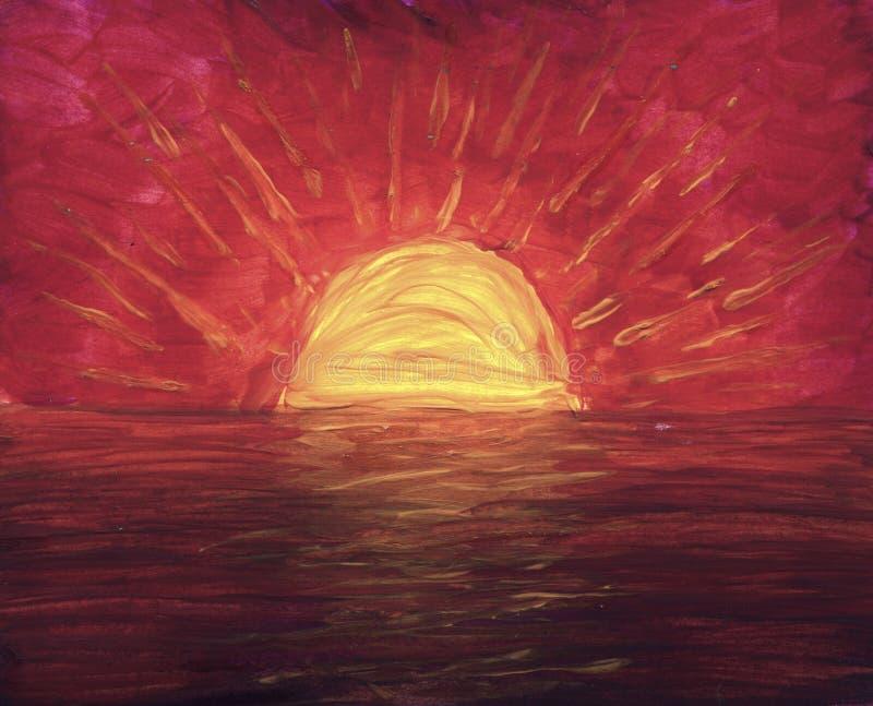 橙色日落在树胶水彩画颜料画的海洋 免版税库存照片