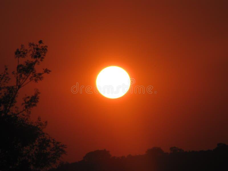 橙色日落 免版税库存图片
