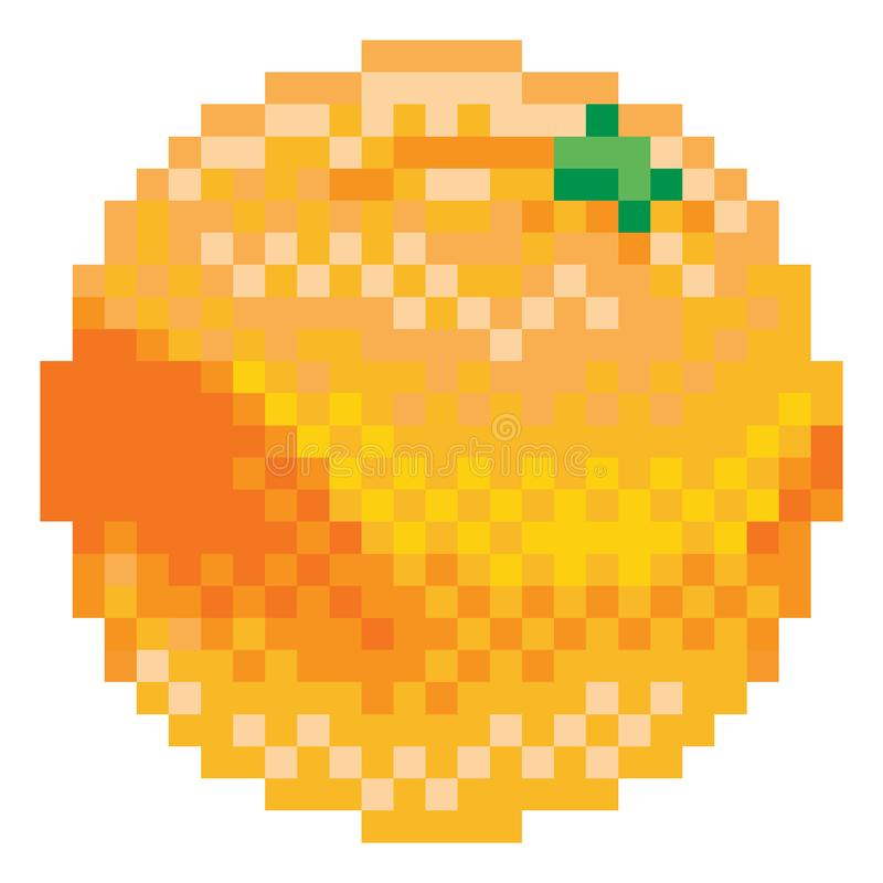 橙色映象点艺术8咬住了电子游戏果子象 向量例证
