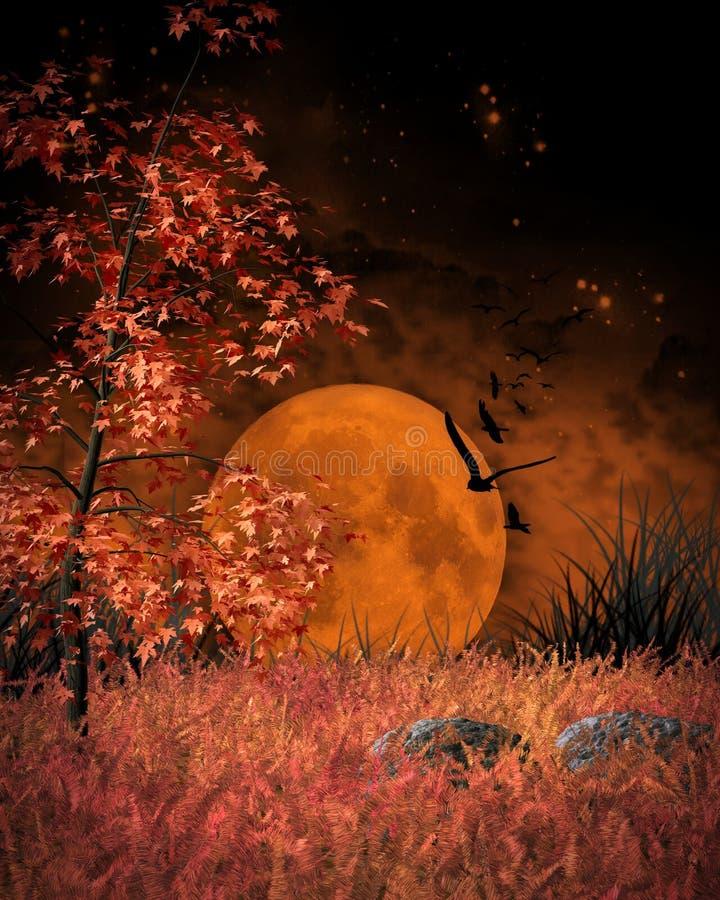 橙色月亮风景 皇族释放例证