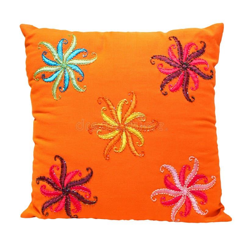 橙色枕头 免版税库存图片