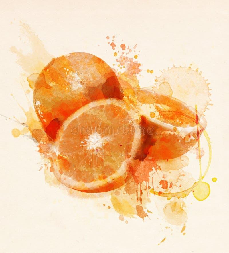 橙色果子的水彩例证 库存例证