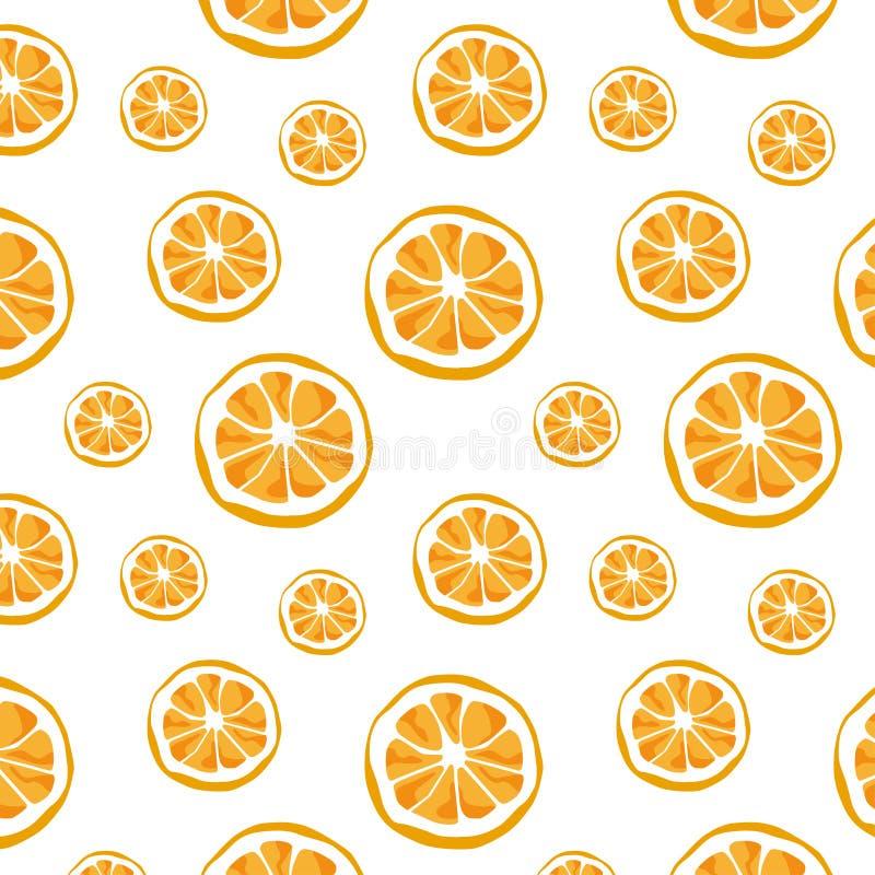 橙色样式和背景无缝的传染媒介  柑橘传染媒介例证 免版税库存照片