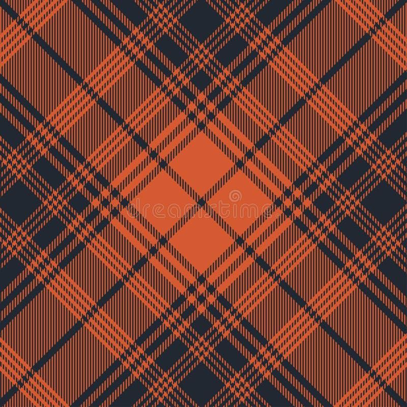 橙色格子呢的样式深蓝和 格子花呢披肩的,桌布,衣裳,衬衣,礼服,纸,卧具,毯子,被子纹理 向量例证