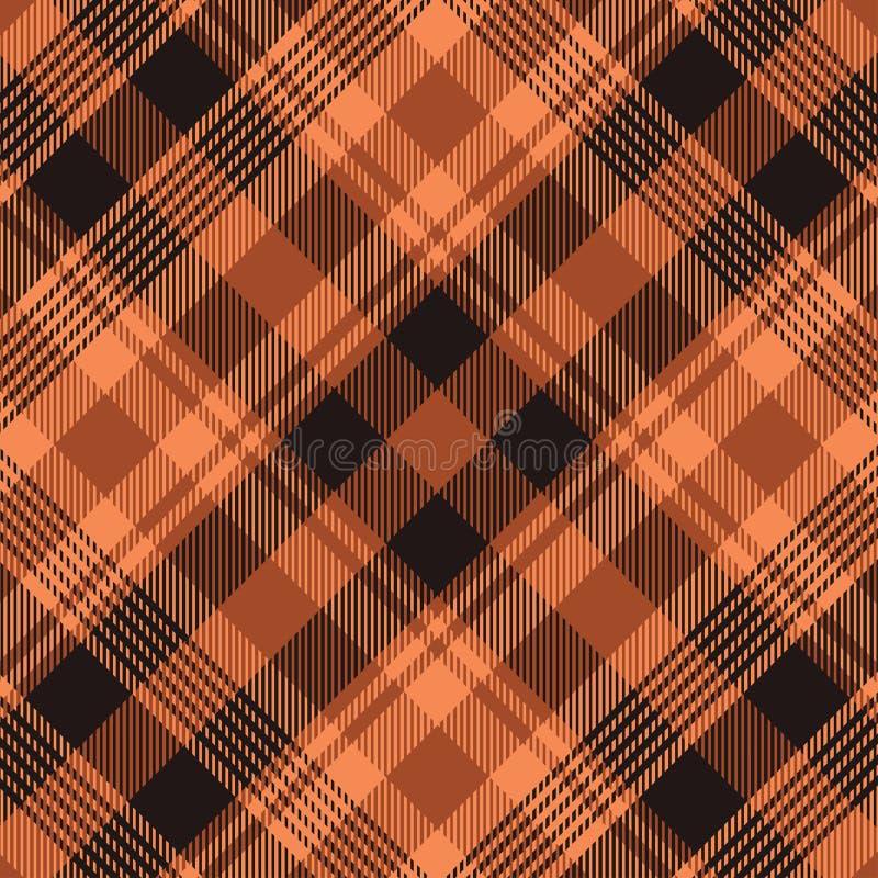 橙色格子呢的样式深蓝和 格子花呢披肩的,桌布,衣裳,衬衣,礼服,纸,卧具,毯子,被子纹理 库存例证