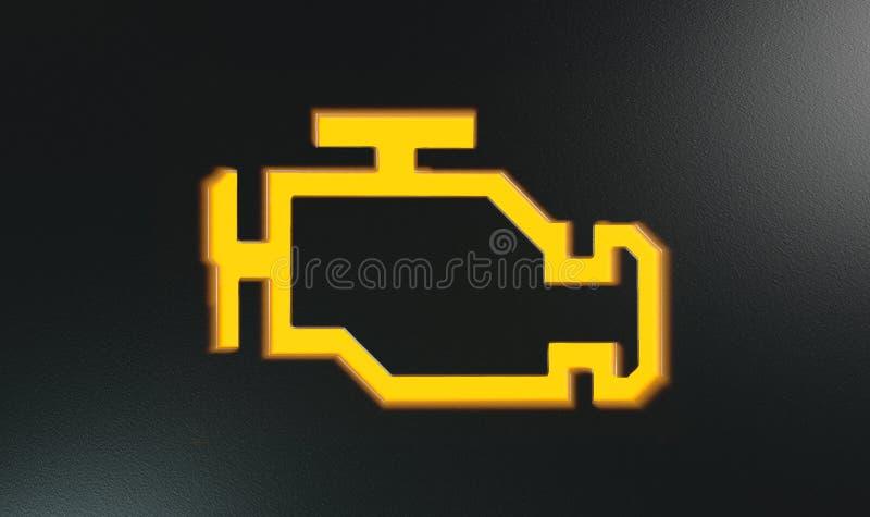 橙色检查引擎显示仪表板灯 皇族释放例证