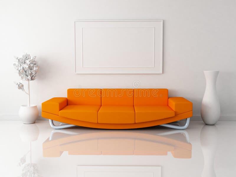橙色沙发 库存例证