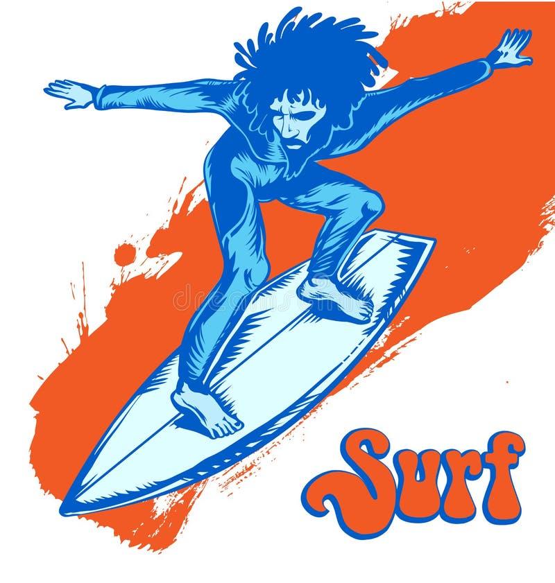 橙色波浪的冲浪者 向量例证
