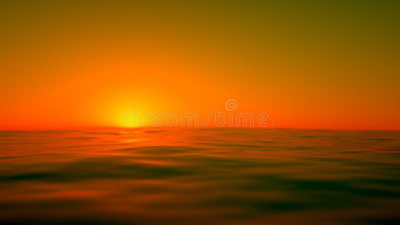 橙色海运日落 皇族释放例证