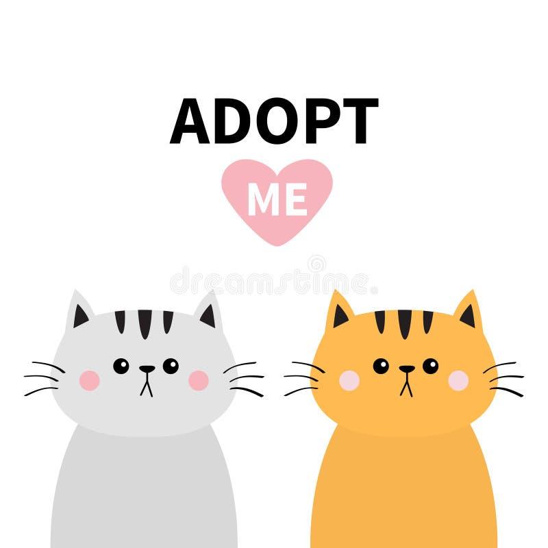 橙色灰色猫剪影集合 采取我 桃红色重点 宠物收养 Kawaii动物 逗人喜爱的动画片全部赌注字符 滑稽的小小猫 向量例证
