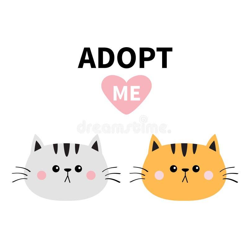橙色灰色猫圆的面孔剪影集合 采取我 桃红色重点 宠物收养 Kawaii动物 滑稽的小小猫 逗人喜爱的动画片kitt 库存例证
