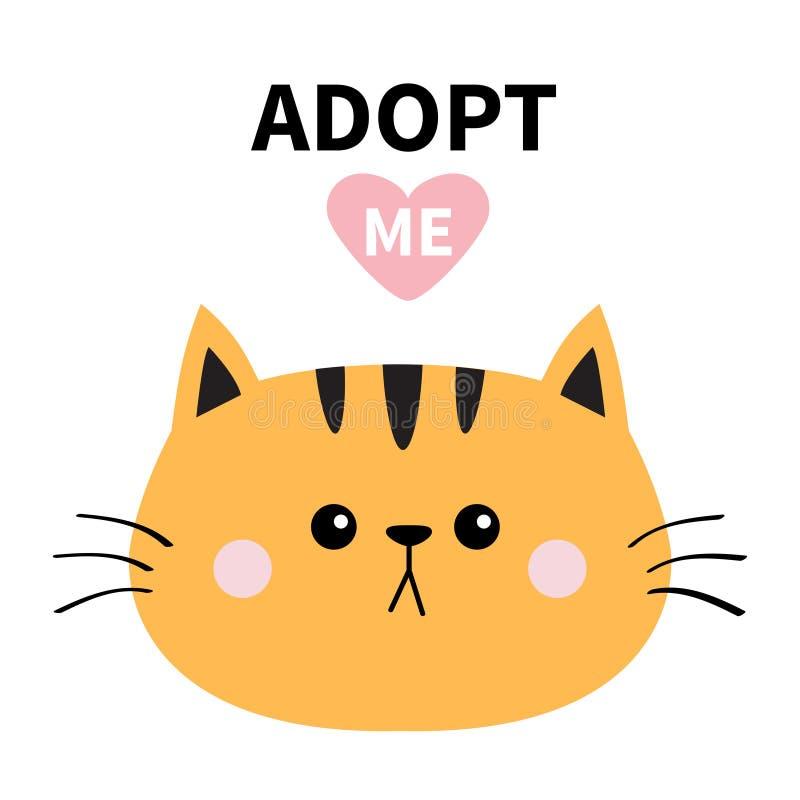 橙色猫圆的面孔剪影 采取我 桃红色重点 宠物收养 Kawaii动物 滑稽的小小猫 逗人喜爱的动画片全部赌注charact 库存例证