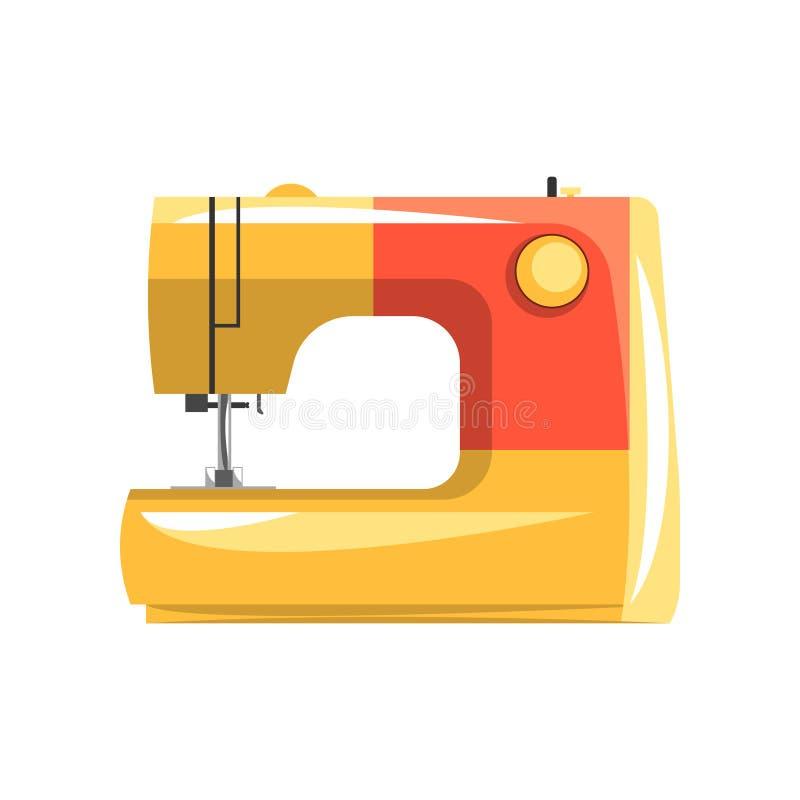 橙色现代电子缝纫机,裁缝设备在白色背景的传染媒介例证 向量例证