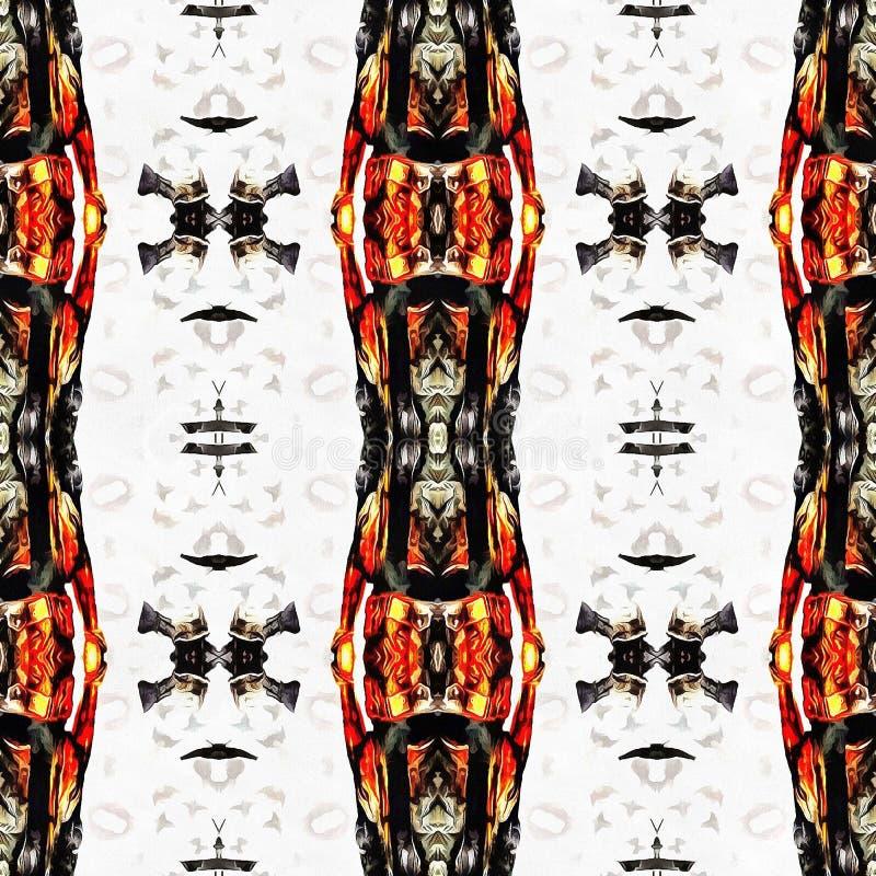 橙色现代Ikat部族无缝的样式网 皇族释放例证