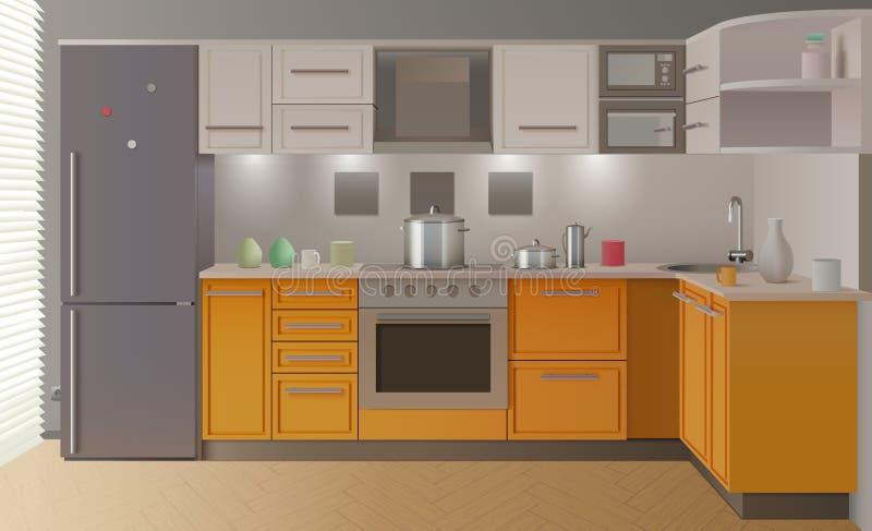 橙色现代厨房内部 皇族释放例证