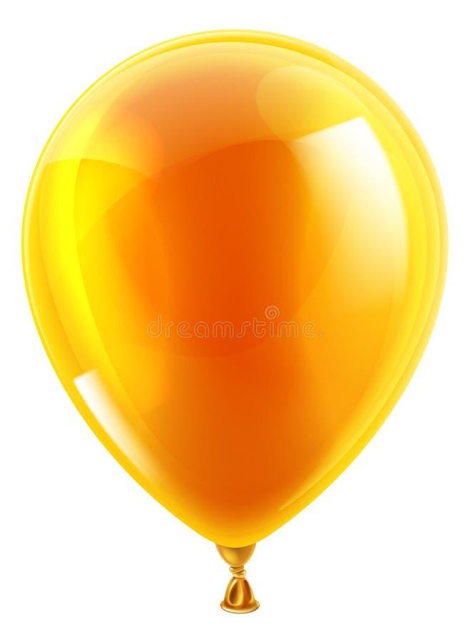 橙色生日或党气球 库存例证