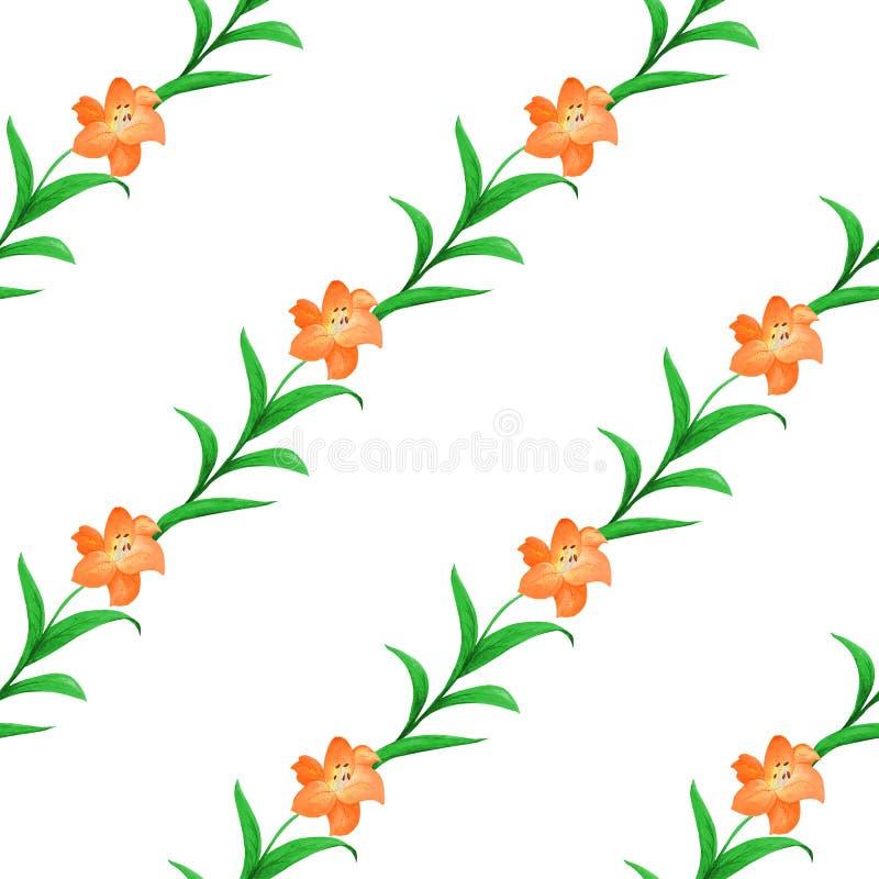 橙色百合的简单的无缝的样式与在白色背景交错的绿色叶子的 向量例证