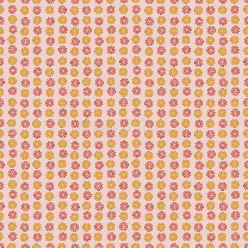 橙色的桔子和红色葡萄柚切围绕在一个浅粉红色的背景无缝的传染媒介样式的果子柑橘垂直条纹 向量例证