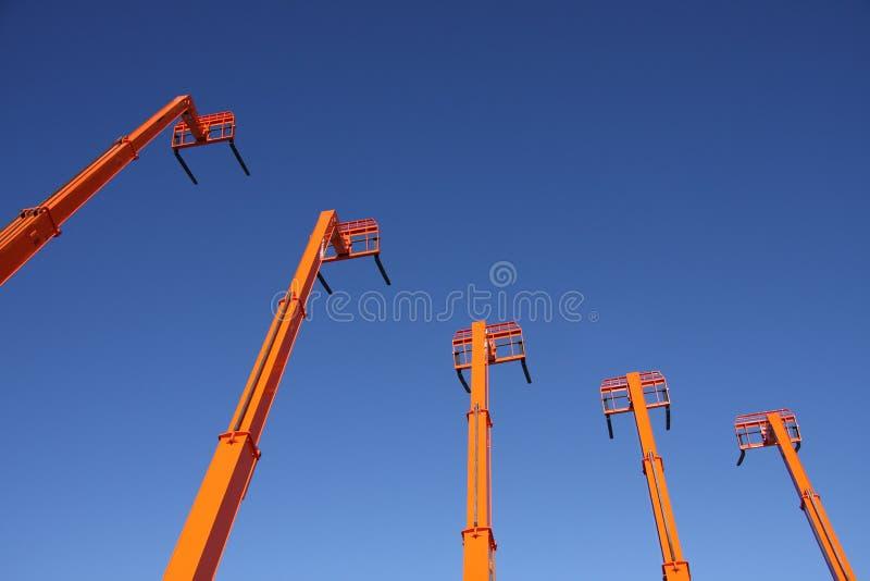 橙色的铲车 库存照片