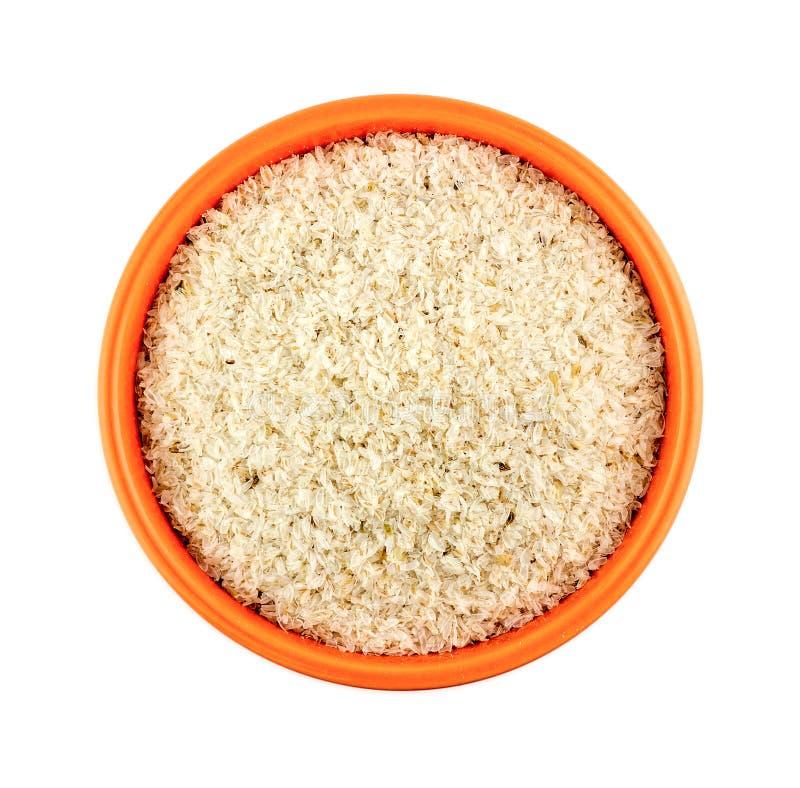 橙色碗在白色背景隔绝的蚤草果壳 免版税库存图片
