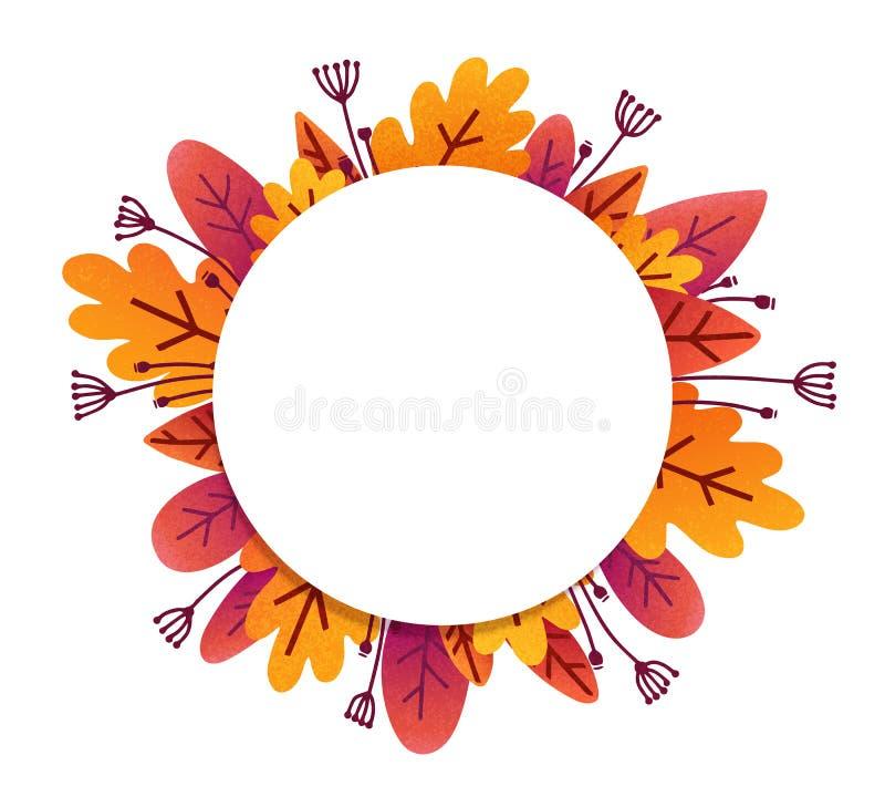 橙色秋叶和花在难看的东西平的样式,导航围绕在白色背景隔绝的框架 皇族释放例证