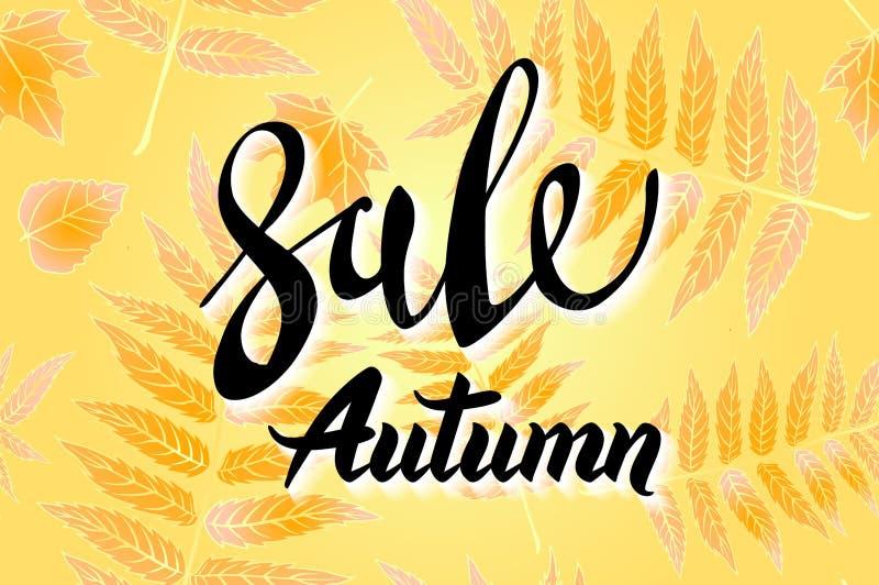 橙色秋天销售背景、手拉的秋天书法与落的叶子,网横幅、购物的销售或者季节性海报, 向量例证