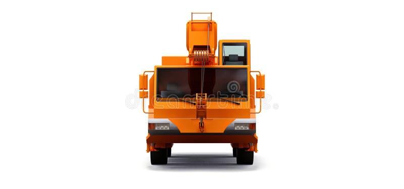 橙色移动式起重机 o 3d?? 库存例证