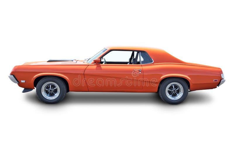 橙色肌肉车的侧视图 免版税库存照片