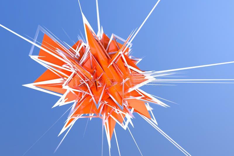 橙色能量爆炸抽象3d翻译在天空的 免版税库存照片
