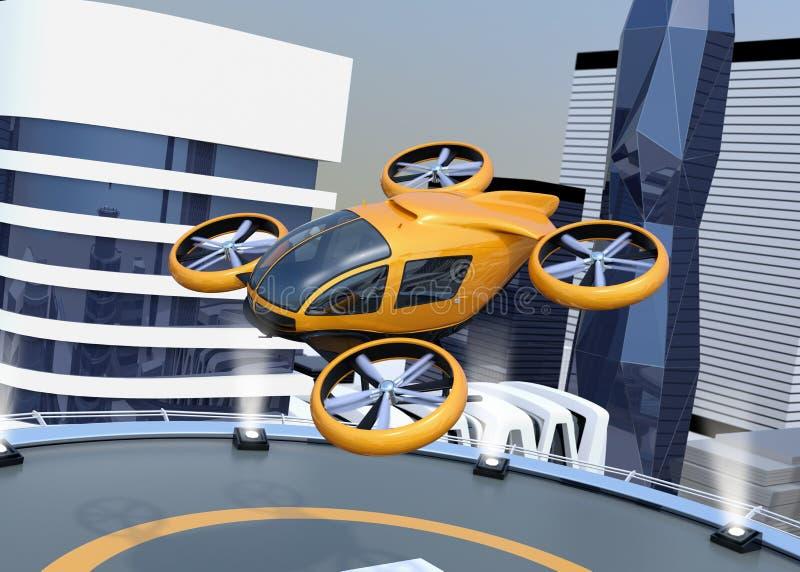 橙色自驾驶的乘客寄生虫起飞和登陆在停机坪 皇族释放例证