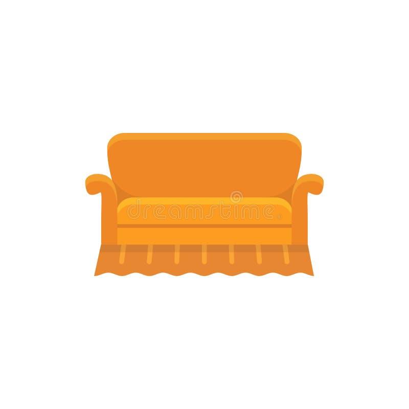 橙色英国沙发 也corel凹道例证向量 长椅平的象  f 向量例证