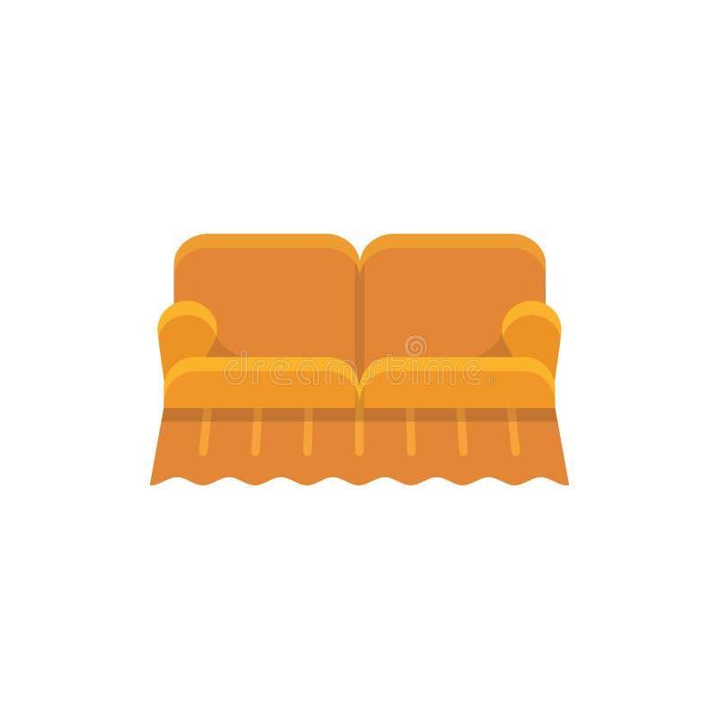 橙色英国沙发 Loveseat 也corel凹道例证向量 平的象  皇族释放例证