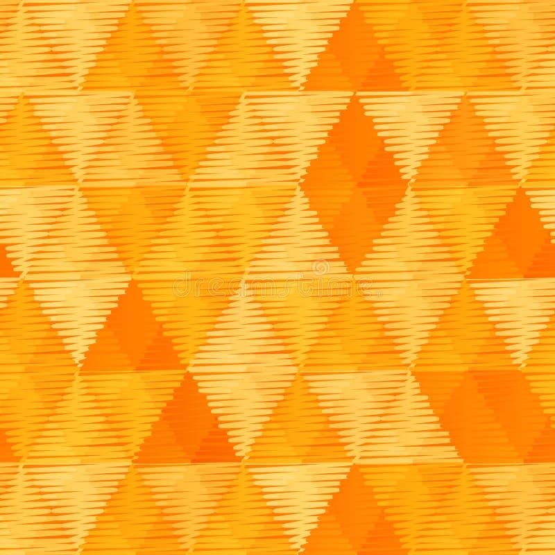 橙色葡萄酒纺织品三角无缝的样式 库存例证