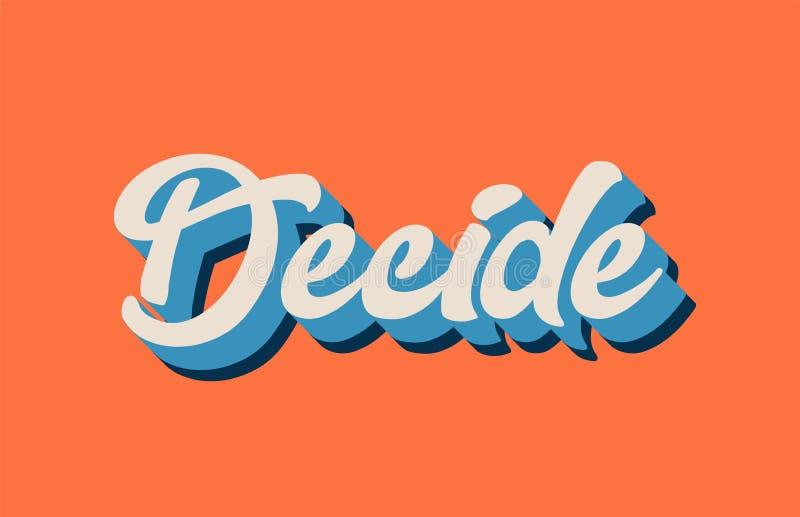 橙色蓝色白色决定手印刷术的l文字文本 向量例证