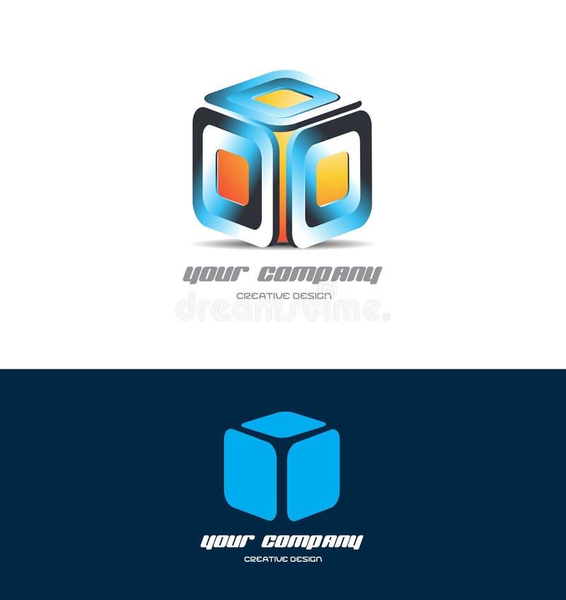 橙色蓝色3d立方体商标象设计 库存例证