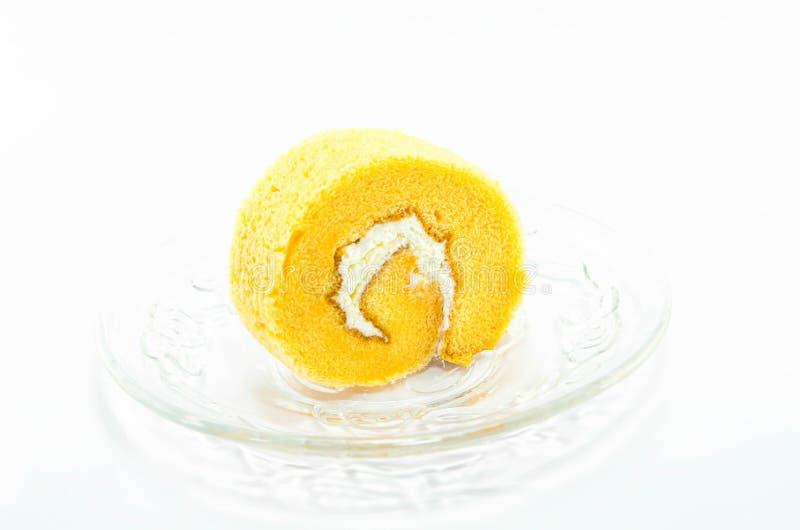 橙色蛋糕卷 库存照片