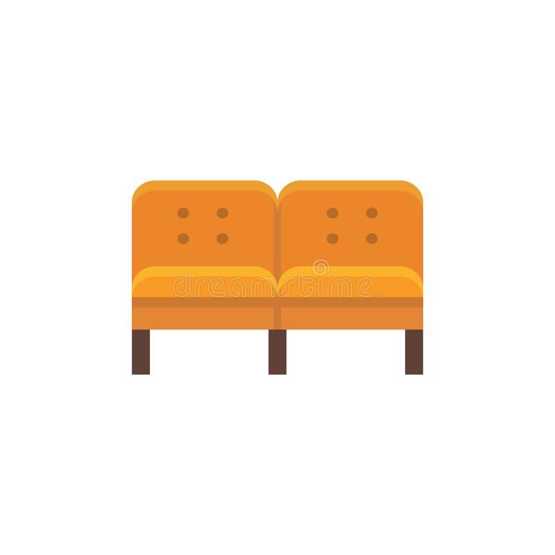橙色部分沙发 也corel凹道例证向量 长椅平的象  皇族释放例证
