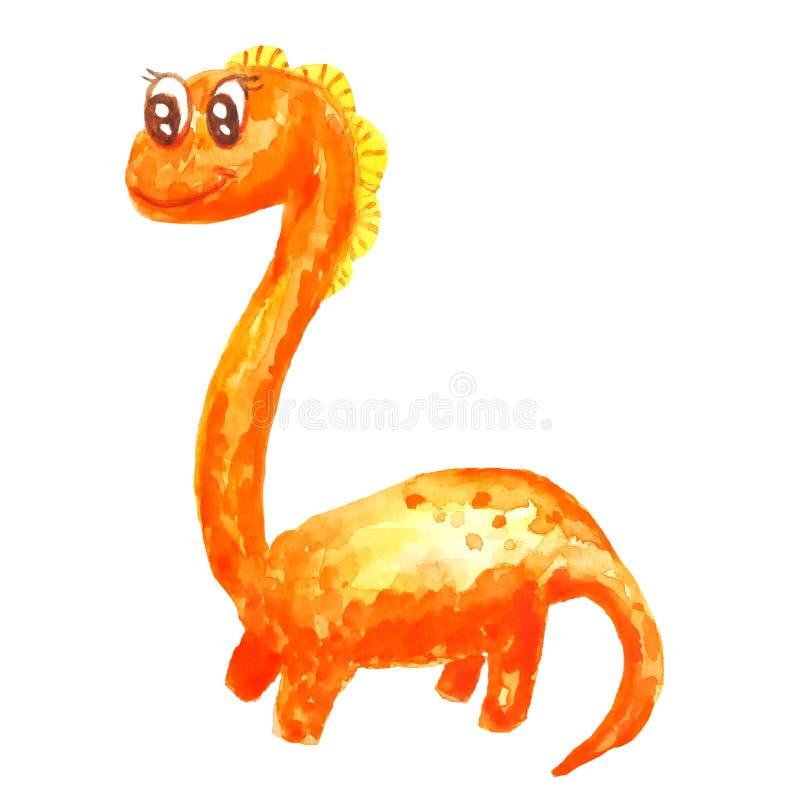 橙色长的脖子在水彩的白色背景隔绝的种类友好的动画片恐龙 皇族释放例证