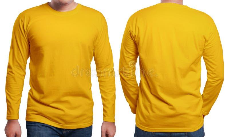 橙色长袖衬衣设计模板 免版税库存图片