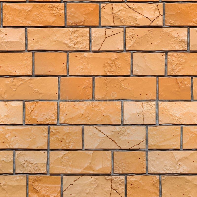 橙色难看的东西brickwall无缝的纹理  3d回报 皇族释放例证