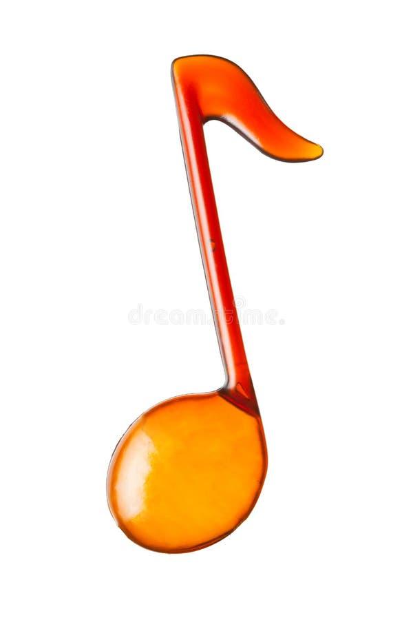 橙色音乐笔记形状 库存图片