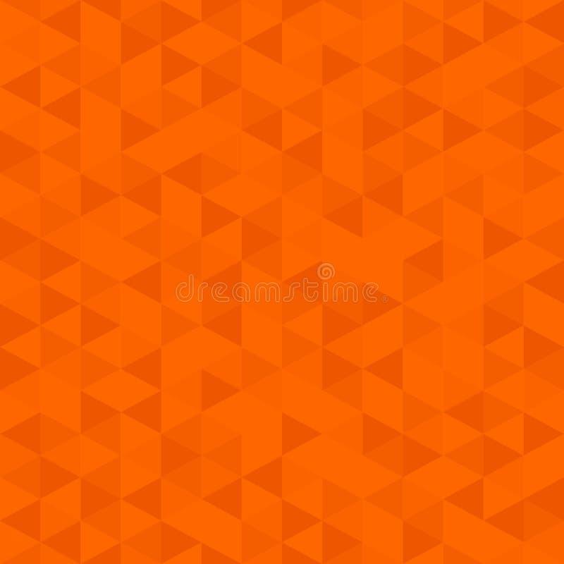橙色颜色低多背景,三角马赛克摘要无缝的样式 向量例证