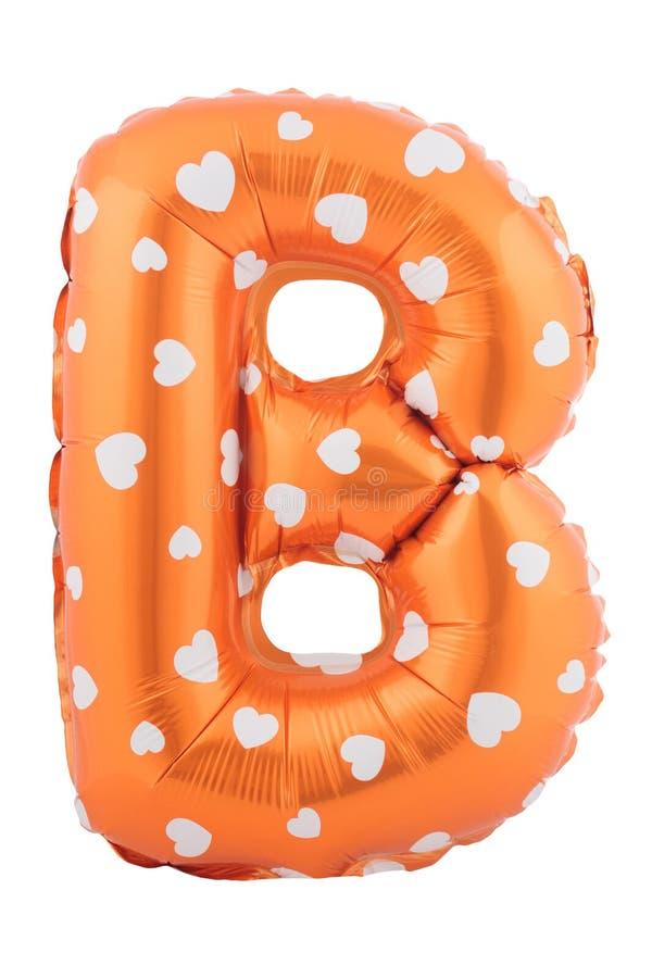 橙色颜色信件B由可膨胀的气球制成 库存照片