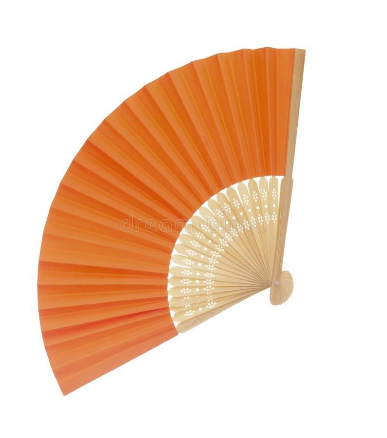 橙色颜色纸和木头,可能竹,在白色背景隔绝的爱好者 r 免版税库存图片