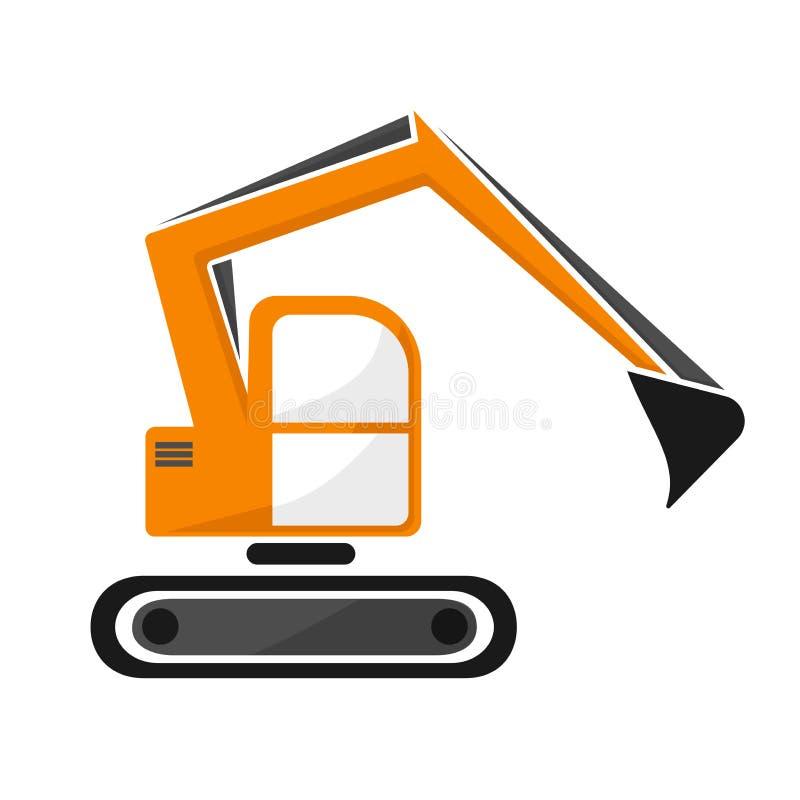 橙色颜色水力毛虫挖泥机  挖掘机 皇族释放例证
