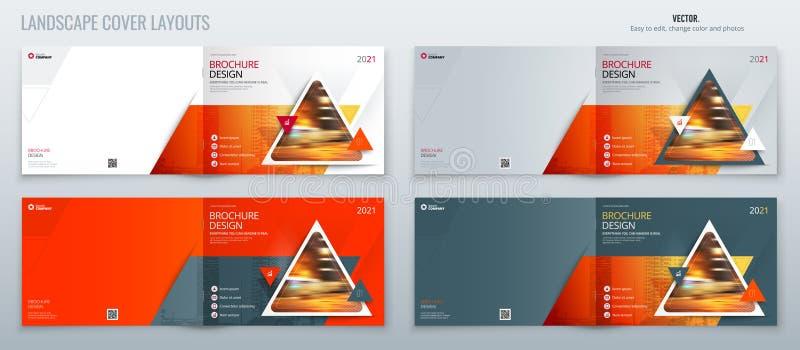 橙色风景小册子模板布局、封面设计年终报告、杂志、飞行物或者小册子在A4与三角 向量例证