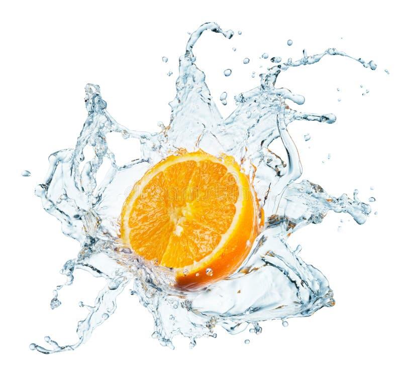 橙色飞溅的水 库存图片