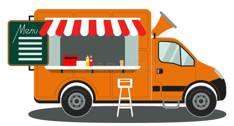 橙色食物卡车侧视图菜单咖啡白色椅子海报 库存例证